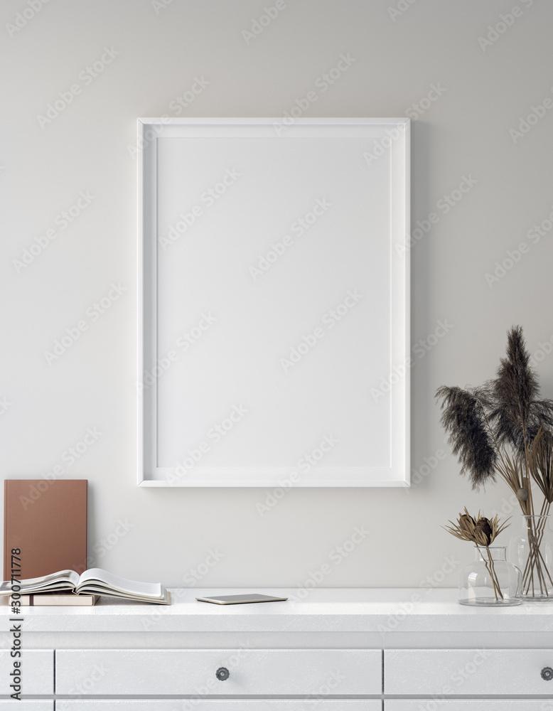 Mock up poster in interior background, Scandinavian style, 3D render <span>plik: #300711778 | autor: artjafara</span>