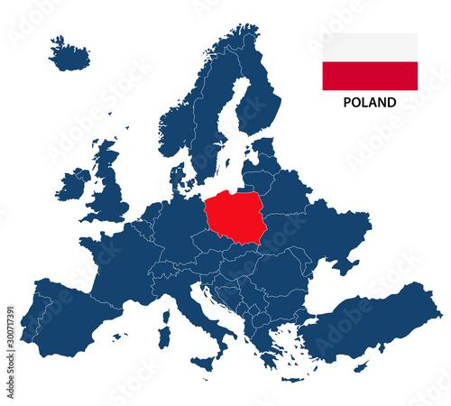 Prosta ilustracja mapy Europy z podświetloną flagą Polski i Polski na białym tle
