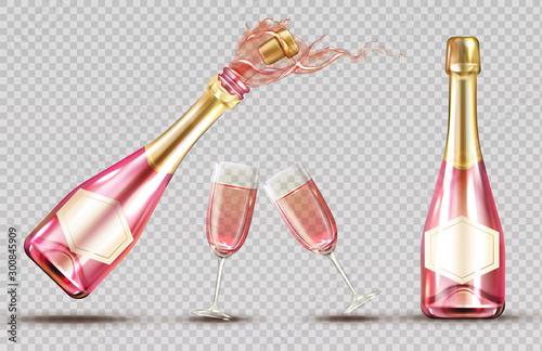 Obraz na płótnie Pink champagne explosion bottle and wineglass set