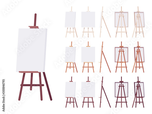 Photo Wooden easel stand set with empty white canvas