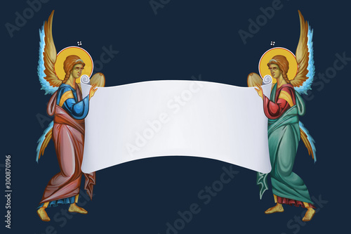 Fotografie, Obraz Two archangels with roll of parchment