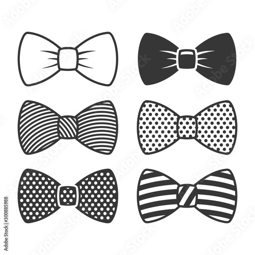 Obraz na płótnie Bow Tie Icons Set on White Background. Vector