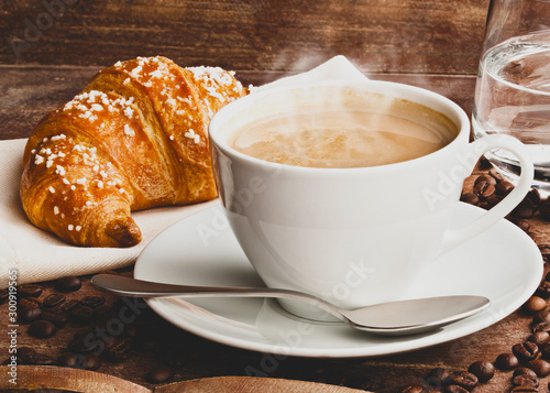 Valokuvatapetti Cappuccino with croissant