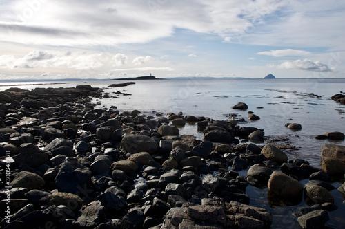 Fotografering Isle of Arran Shoreline with Alisa Craig on horizon