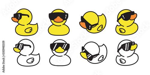 Slika na platnu duck vector icon logo rubber duck sunglasses cartoon character illustration bird