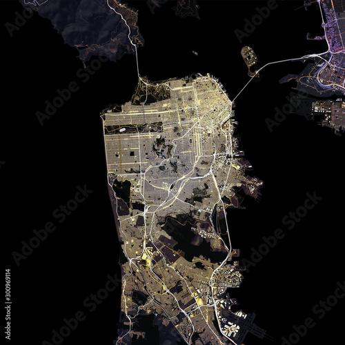 Fotografie, Obraz Map San Francisco city. California