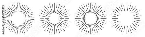 Sun rays or sunshine linear drawing. Vector Fototapeta