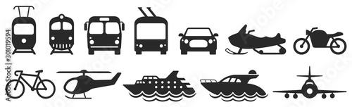 Public transport icons set. Vector