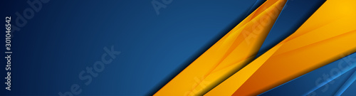 High contrast blue and orange glossy stripes. Abstract tech graphic banner design. Vector corporate background