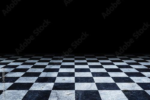 Fotografie, Tablou Black And White Checker floor Grunge Room