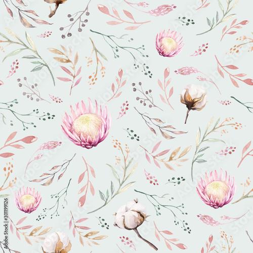 Obraz na płótnie Retro z kwiatowym wzorem