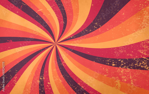 Wallpaper Mural retro starburst sunburst background pattern and grunge textured vintage autumn c