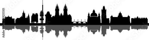 Fotografie, Obraz Prag City Skyline Vector Silhouette