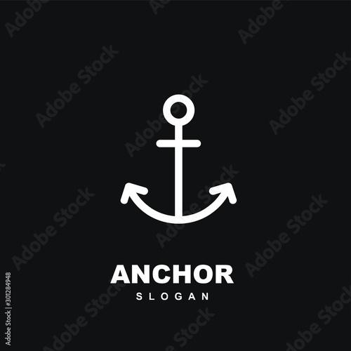 Foto Modern black Line anchor logo icon design vector illustration