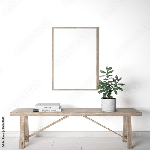 Valokuvatapetti mock up home interior, farmhouse bench with white background, Wooden frame, 3D r