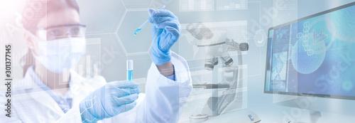 Fotografie, Obraz scientist holding a test tube in a scientific background, 3d illustration