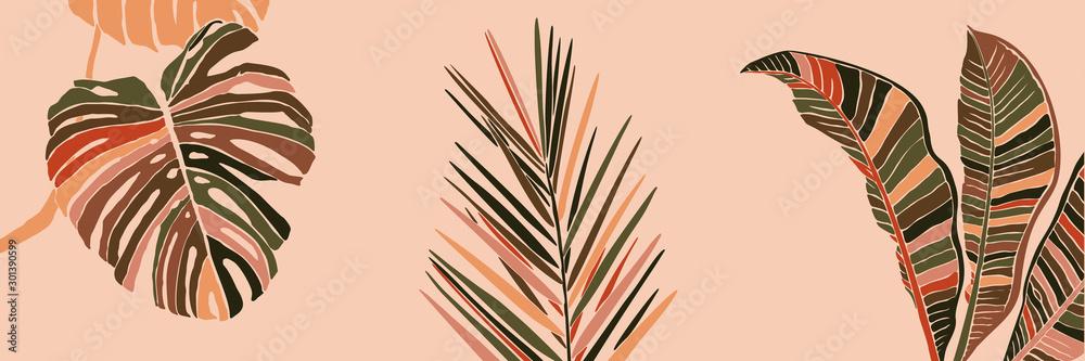 Tropikalne liście palmowe w minimalistycznym, modnym stylu. Sylwetka rośliny banana, monstera i Dypsis we współczesnym prostym abstrakcyjnym stylu na różowym tle. Kolaż ilustracji wektorowych. <span>plik: #301390599   autor: Sini4ka</span>