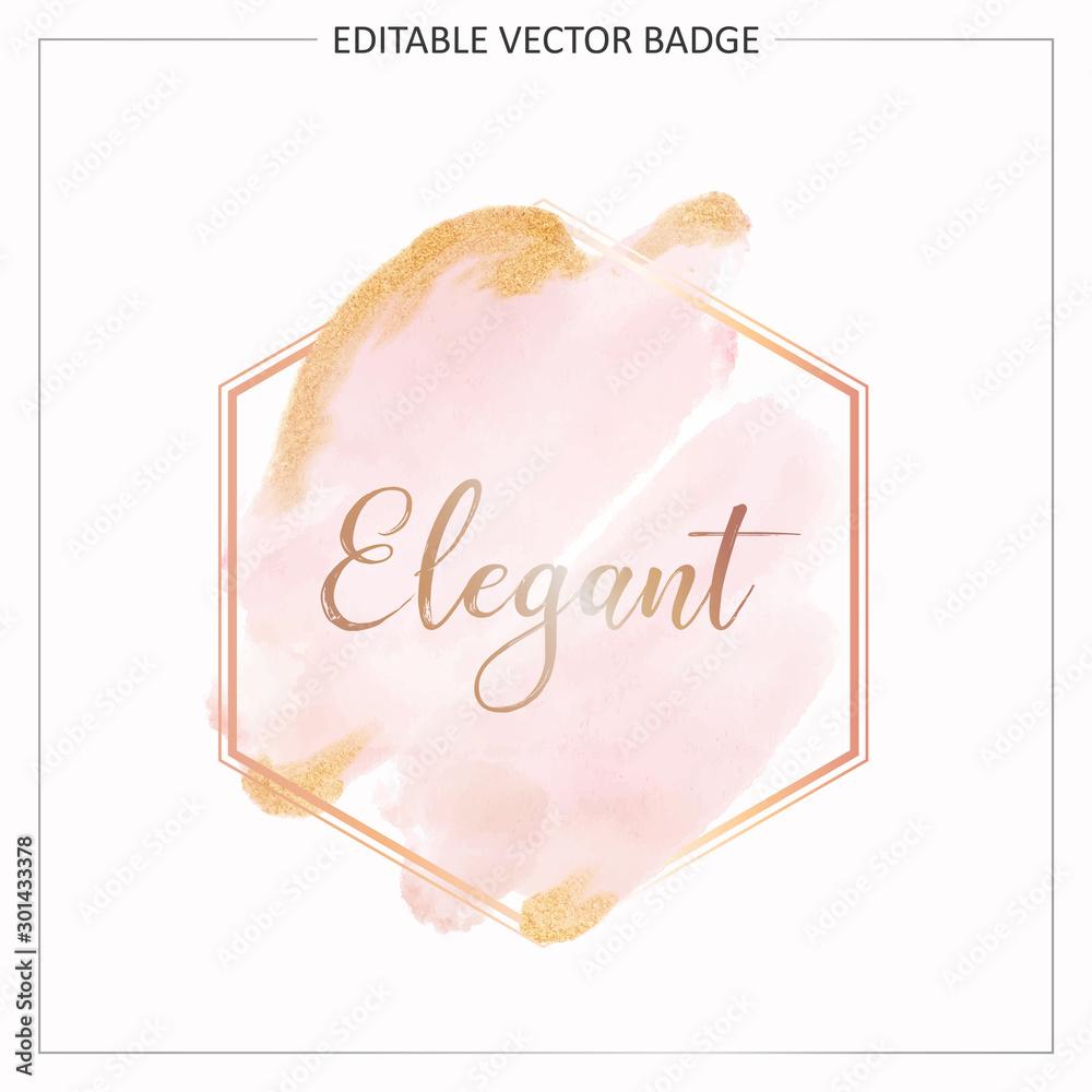 Geometric watercolor frame with gold and glitter decoration. Golden geometric wedding badge or logo branding design concept vector <span>plik: #301433378 | autor: KeepMakingArt</span>
