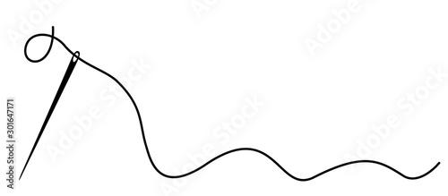Fotografia, Obraz Needle with thread – stock vector