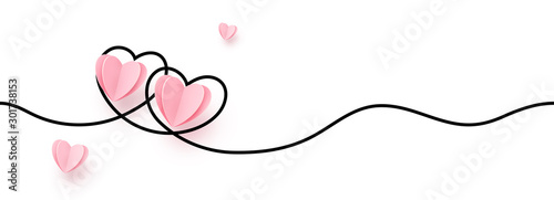 Fotografiet Continuous line heart shape border with realistic paper heart on white backgroun
