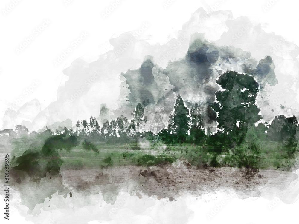 Abstrakcjonistyczny drzewa i pola krajobraz w Tajlandia na akwareli maluje ilustracyjnego tło. <span>plik: #301739395 | autor: Watercolor_Concept</span>