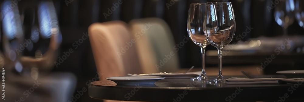 panorama restaurant setting / long narrow background interior cafe cutlery