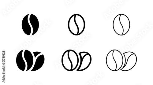 Fotografia, Obraz Coffee bean icon isolated on white background