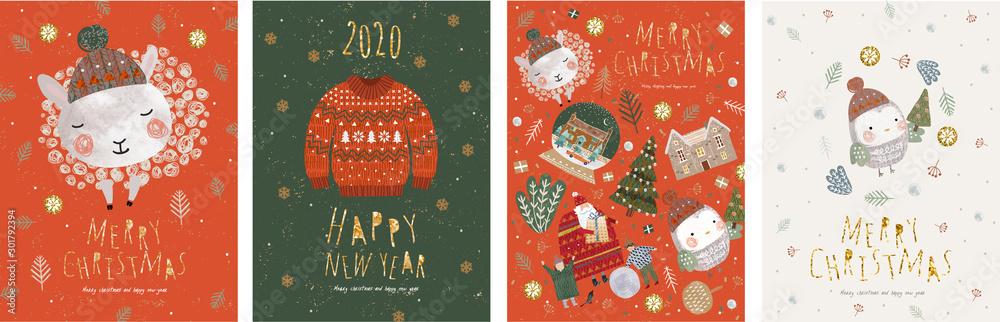 Wesołych Świąt i Szczęśliwego Nowego Roku! Ilustracje wektorowe na ferie zimowe: urocze zwierzęta i ptak w czapce Świętego Mikołaja, sweter z dzianiny, pojedyncze obiekty na kartę, tło lub pocztówka <span>plik: #301792394   autor: Ardea-studio</span>