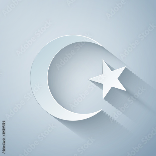 Obraz na płótnie Paper cut Star and crescent - symbol of Islam icon isolated on grey background