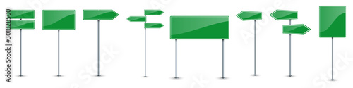 Photo Set of green road text panels. Vector road signs.