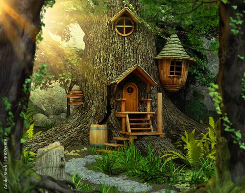 Canvas Print Enchanting fairy tree home inside an old white oak
