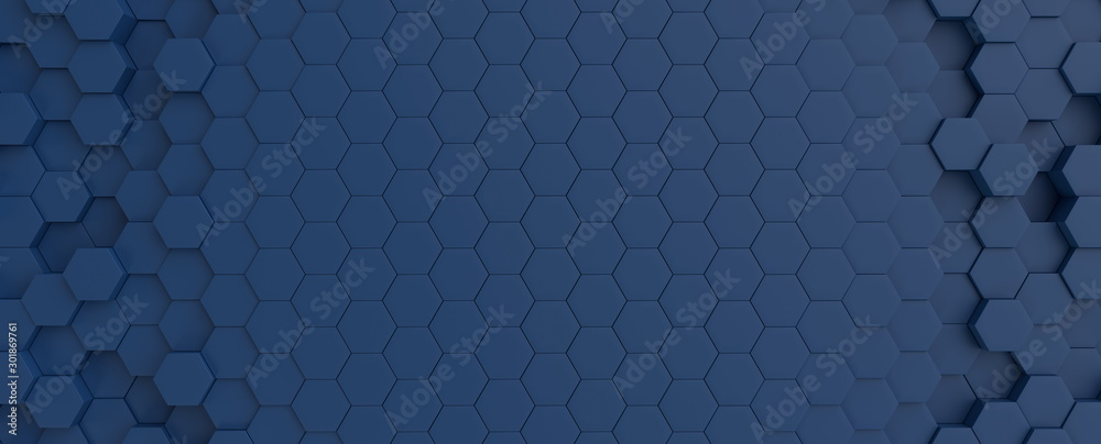 Heksagonalny zmrok - błękitny granatowy tło tekstury placeholder, promieniowa centrum przestrzeń, 3d ilustracja, 3d renderingu tło <span>plik: #301869761 | autor: Sono Creative</span>