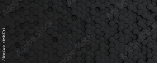 Fotografie, Tablou Hexagonal dark grey, black background texture, 3d illustration, 3d rendering