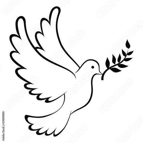 Billede på lærred Peace Dove Icon With Leaf Coloring Page