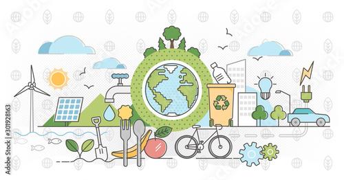 Eco friendly outline concept clean environment vector illustration