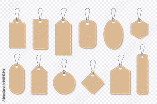 Set of sale tags and labels, template shopping labels. Blank, discount and price tags on paper. Special offer. Vintage. Vector illustration.