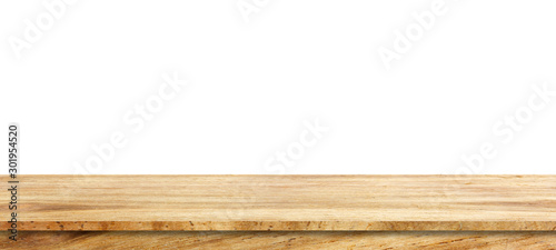 Fotografia Wooden tabletop isolated on white background Empty rustic wood table,For montage product display or design key visual layout