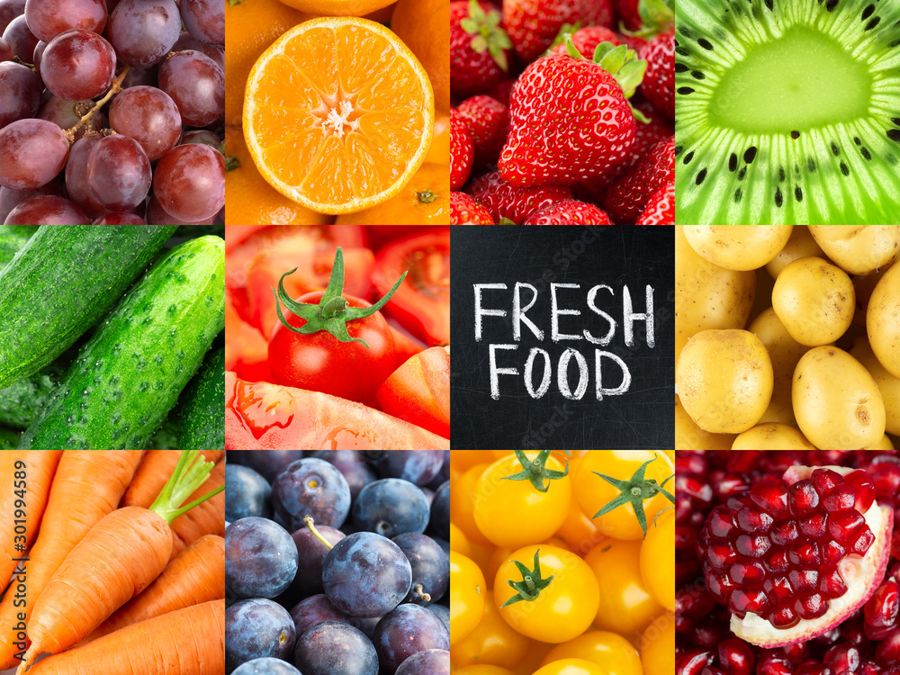 Fruits and vegetables. Background of fresh food <span>plik: #301994589   autor: seralex</span>