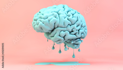 Leinwand Poster melting brain concept