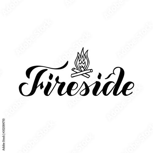 Wallpaper Mural Vector illustration of fireside brush lettering for banner, leaflet, poster, logo, advertisement design
