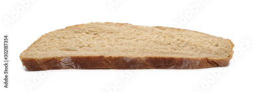 Foto Integral rye bread slice isolated on white background