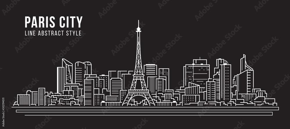 Pejzaż miejski Panorama budynku Grafika liniowa Wektor ilustracja projektu - Paryż miasto <span>plik: #302194511   autor: ananaline</span>