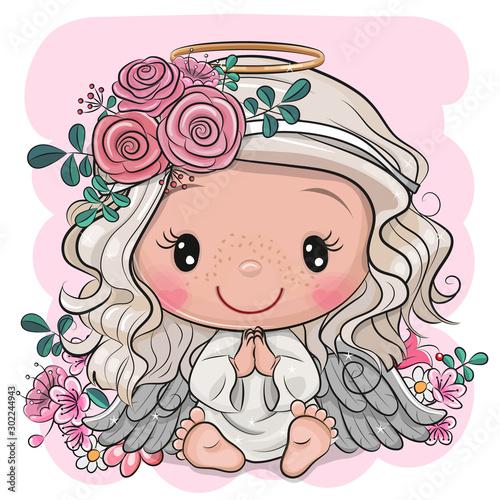 Stampa su Tela Cartoon Christmas angel with flowers