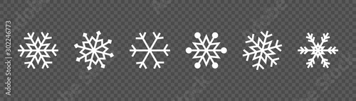 Snowflake set on isolated background. Winter pattern snow ornament vector design. Frost background. Christmas icon. Vector illustration