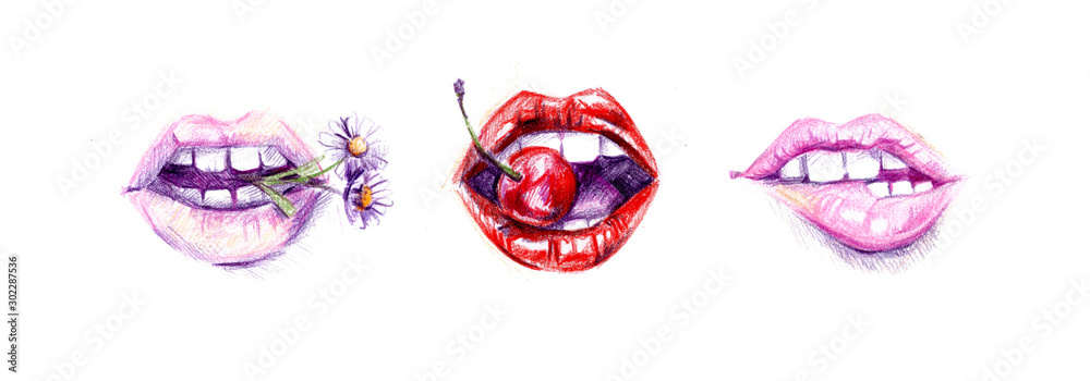 Sexy biting lips set. <span>plik: #302287536 | autor: Natali Southern</span>