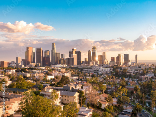 Canvastavla Aerial view of downtown Los Angeles city skyline and skyscrapers on a sunny day