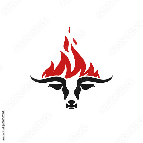 Barbecue grill. Logo. Isolated bull head with fire on white background