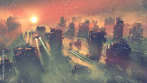 Fototapeta Postapokaliptyczna sceneria przedstawiająca statki kosmiczne lecące nad opuszczonymi wieżowcami na ścianę