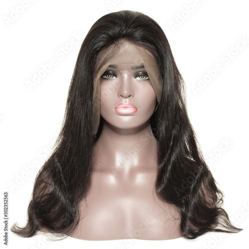 Obraz na płótnie body wave wavy black human hair weaves extensions lace wigs
