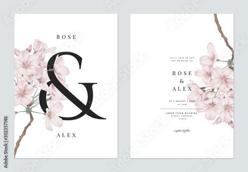 Obraz na plátne Floral wedding invitation card template design, Somei Yoshino sakura flowers wit